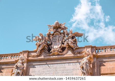 The famous Trevi Fountain or Fontana di Trevi at Piazza Trevi, Rome. Built in 1762, designed by Nicola Salvi. #1459637261