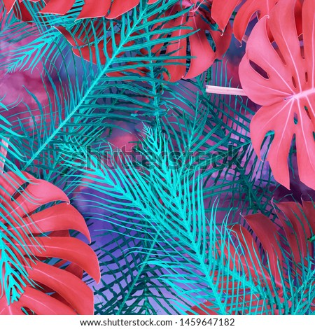 Creative fluorescent color layout made of tropical leaves with white square and fogs. Flat lay. Nature concept. 3d rendering - illustration #1459647182