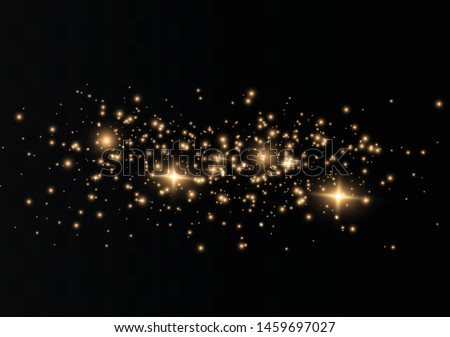 The dust sparks and golden stars shine with special light. Vector sparkles on a transparent background. Christmas light effect. Sparkling magical dust particles. #1459697027