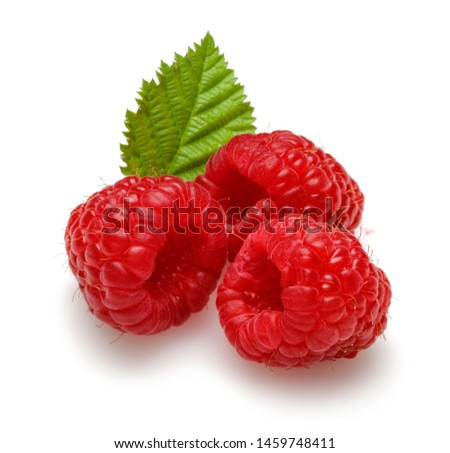 Fresh raspberries with leaf isolated on white background #1459748411