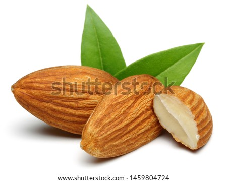 Almonds and green leaves isolated on white background #1459804724
