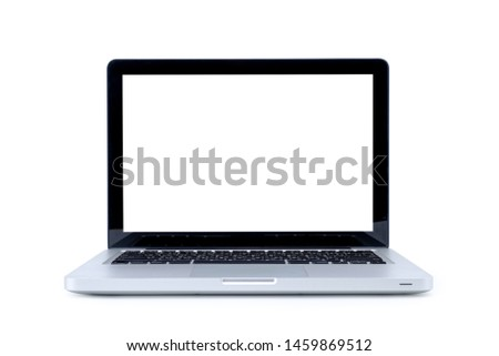 Laptop computer with blank screen isolated on white background, with selection path. #1459869512