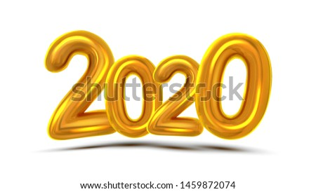 2020 Christmas Greeting Card Concept Banner Vector. Glint Gold Color Air Blown Two Thousand Twenty 2020 On White Background. Current Event Guid, Advertising Bill Poster Realistic 3d Illustration #1459872074
