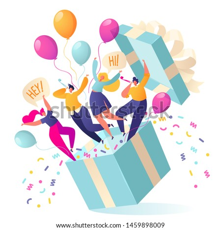 Joyful, flat characters people jump out of the gift box. Friends made a surprise. Your best gift is your friends. Confetti and balloons fly out of the box. People blow their whistles. Birthday concept #1459898009
