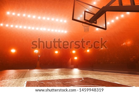Basketball court with hoop. Red floodlit background #1459948319