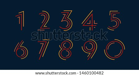 Number set vector font alphabet, modern dynamic flat design with brilliant colorful for your unique elements design ; logo, corporate identity, application, creative poster & more  Royalty-Free Stock Photo #1460100482