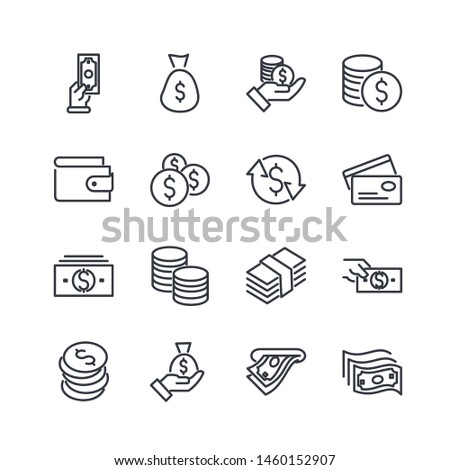 Simple of Money Related Vector Line Icons Set. Wallet, ATM, Bundle of Money, Hand with a Coin and more symbol. Editable Stroke. #1460152907