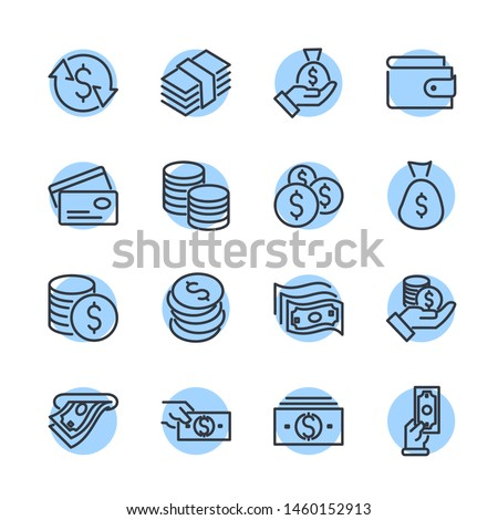 Simple of Money Related Vector Line Icons Set. Wallet, ATM, Bundle of Money, Hand with a Coin and more symbol. Editable Stroke. #1460152913