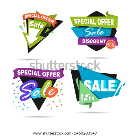 Special offer sale banner. Discount price label. Symbol of promotion and advertising. Elements for business. Flat design.  illustration isolated on white background. Set or collection. #1460203349