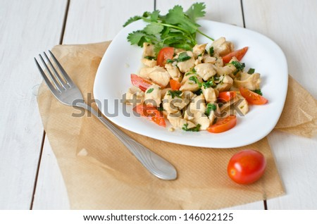 steamed scallops with tomatoes #146022125