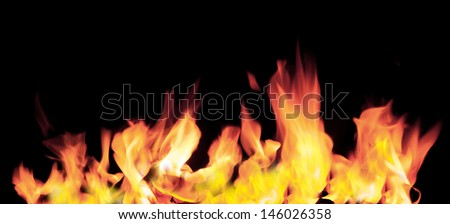 Fire flames on a black background #146026358
