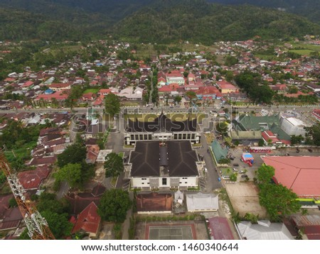 View one of the small cities in Sumatra with a drone view. #1460340644