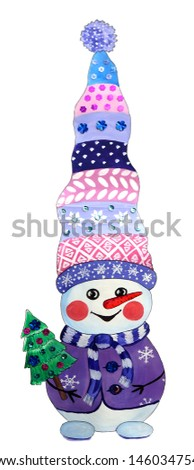 cheerful snowman in a knitted hat carrying a Christmas tree