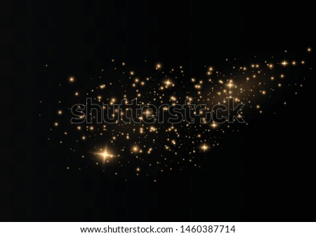 The dust sparks and golden stars shine with special light. Vector sparkles on a transparent background. Christmas light effect. Sparkling magical dust particles. #1460387714