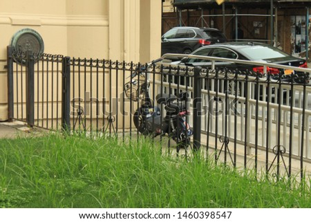 Brooklyn NY July 20 2019 Electric Moped Scooter Bike seen parked in the crown heights section of Brooklyn on a sunny summer day #1460398547