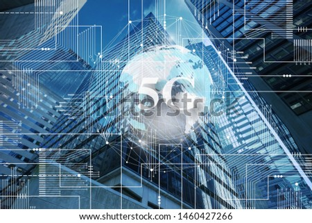 5G network digital hologram and internet of things on city background.5G network wireless systems.IoT(Internet of Things), ICT(Information Communication Technology),communication network concept. #1460427266