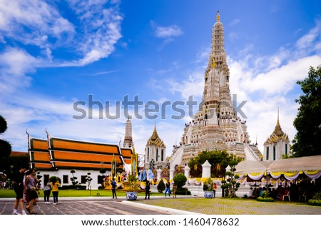 Bangkok,Thailand - July,17,2019 :Pagoda at Wat Arun temple, One of the famous temple in Thailand , This temple has many foreign visitors visiting each day, Bangkok , Thailand. #1460478632