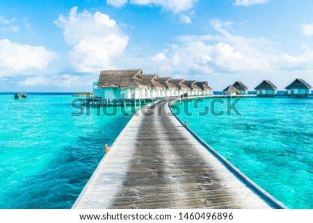 tropical Maldives resort hotel and island with beach and sea for holiday vacation concept - boost up color processing style #1460496896