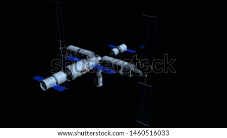 Shenzhou manned space vessel in the direction of coupling to the TIANHE core module in TIANGONG 3 - Chinese space station on black space with stars background. 3D Illustration #1460516033
