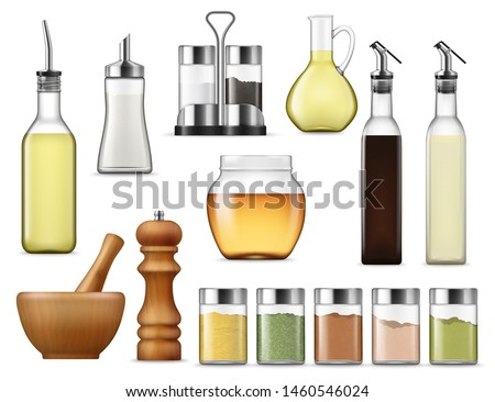 Salt and paper containers, glass jars with herb spices, vinegar pack isolated. Vector glass bottle of honey, seasoning racks and cooking oil. Sugar dispenser and oil carafe, salad dressing and sauces #1460546024