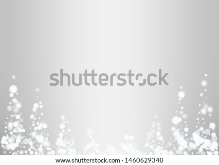 Glowing white snow flakes christmas background. Actual winter flying silver snowflake overlay template.Subtle flying snow on light grey background. #1460629340