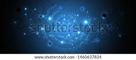 Polygonal science background with connecting dots and lines. Digital data visualization. #1460637824