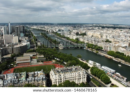 Paris, aerial view from Eiffel Tower, France. Roads, river, houses, buildings, parks and bridges #1460678165