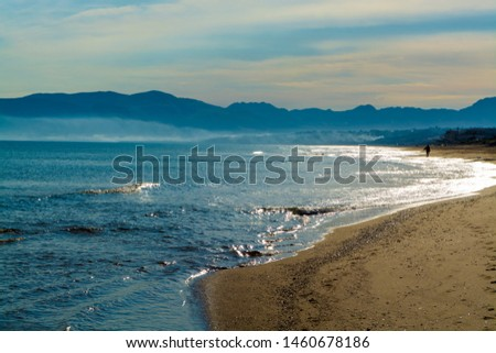 Coastline with sandy beaches and clear sea water in Alcamo Marina, small town in Sicily, Italy, summer vacation destination #1460678186