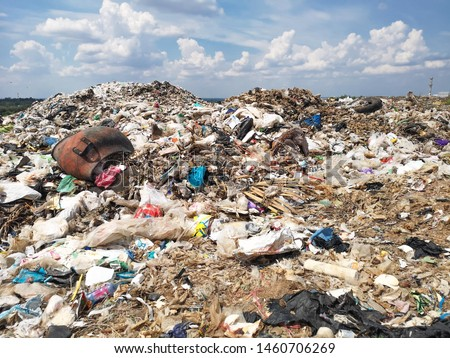 land with  garbage, Garbage dump landscape of ecological damage  contaminated land., plastic scrap in landfill, environmental problems pollution, waste or trash from household in waste landfill #1460706269