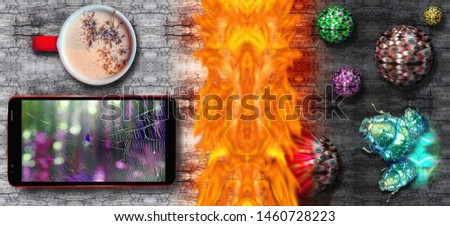 Conceptual view of modern smart phone with spider web as symbol of Internet on screen and hot coffee mug defended by firewall from bug and viruses attack on cracked wooden desk   #1460728223