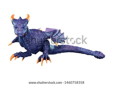 3D rendering of a fantasy dragon isolated on white background #1460758358