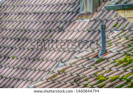 well preserved old roof tiles with moss and ventilation pipe,  #1460844794