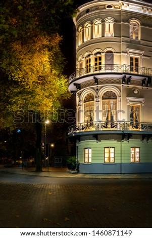Romantic historical round corner building