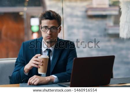 Men desktop office finance office work cafe #1460916554