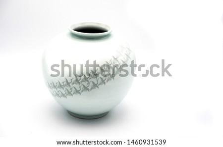 Korean White Celadon Vase on a White/Gray Background #1460931539
