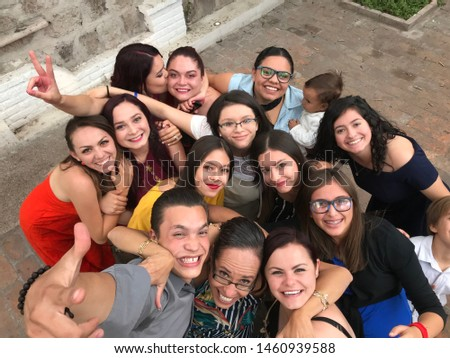 Aguascalientes, México 02/09/2019. group of happy young people having fun together enjoying the company of themselves. #1460939588