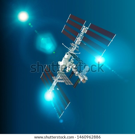 The International Space Station (ISS) is a space station, or a habitable artificial satellite, in low Earth orbit. Satellite view of the earth and ISS. Element of this images are furnished by Nasa. 3d #1460962886