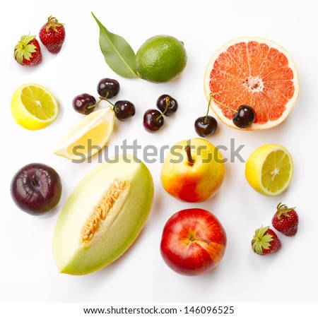 Various fruits with leaves on white background #146096525