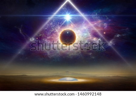 Sci-fi collage - aliens space ship above aliens colony on planet Earth, extraterrestrial spherical life form fly in dark night sky. Elements of this image furnished by NASA Royalty-Free Stock Photo #1460992148