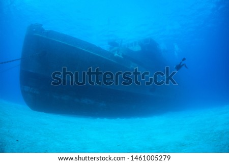 A diver explores the USS Kittiwake, one of the best-known wreck dives in the Caribbean Sea. The 251-foot long ship was sunk off the coast of Grand Cayman in 2011 in order to create an artificial reef. #1461005279
