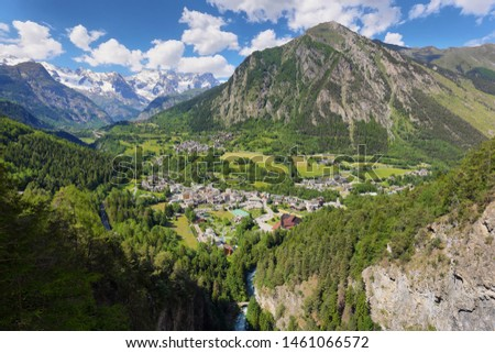 Voew of Pre Saint Didier town near Courmayeur and french border. Val d'Aosta region in italian Alps. #1461066572