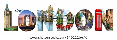 London city landmarks. Word illustration of most famous London m #1461115670