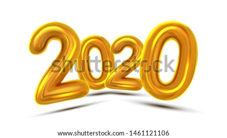 2020 New Year Greeting Card Concept Banner . Glossy Yellow Air Blown Two Thousand Twenty 2020 On White Background. Invitation Xmas Party Creative Poster Realistic Illustration #1461121106