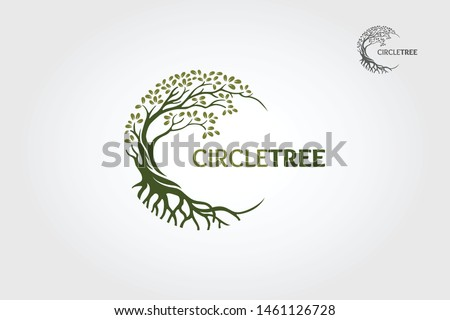 Circle Tree vector logo this beautiful tree is a symbol of life, beauty, growth, strength, and good health. Royalty-Free Stock Photo #1461126728