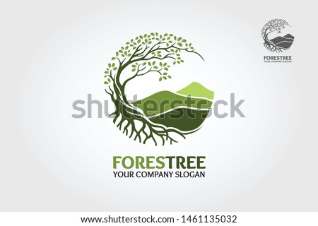 Forest Tree vector logo. Tree and mountain vector design elements original, that were created to highlight the growth, travel, spirit, mountain and lifestyle.  #1461135032