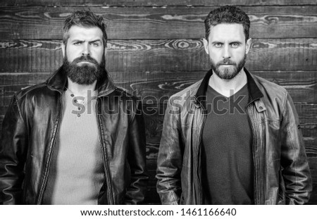 Masculinity concept. Masculinity attributes. Brutality confidence and masculinity interconnection. True man temper. Men brutal bearded hipster. Exude masculinity. Confident competitors strict glance. #1461166640