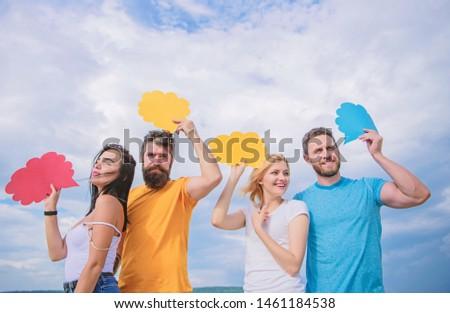 Enabling effective communication. Group communication pleasure. Communication occurs through speech balloons. People speak using speech bubbles. Friends send messages on comic bubbles, copy space. #1461184538