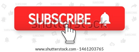 Subscribe, bell button and hand cursor. Red button subscribe to channel, blog. Social media background. Marketing. Vector illustration. EPS 10 #1461203765
