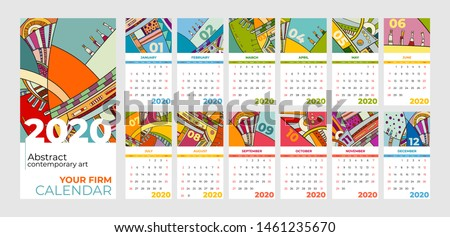 2020 calendar abstract contemporary art vector set. Desk, screen, desktop months 2020, colorful 2020 calendar template, agenda pattern. Psychedelic sketched calendar, day planner. Set 12 month pages. #1461235670