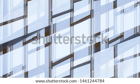 Glass walls with metal framework. Reworked photo of office building exterior or interior fragment. Windows. Abstract modern architecture background with geometric structure of structural glazing. #1461244784